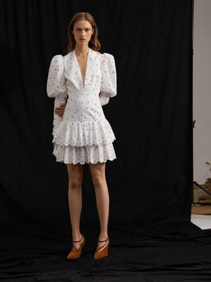 White Sexy Deep V Bubble Sleeve Wave Point summer Cake Dress
