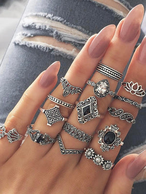 Vintage 15 Pcs Vintage Bohemian Ring Set
