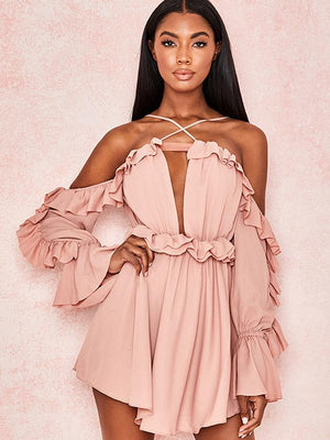 Solid Color Ruffled Chiffon Sexy Romper - Pink