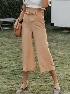 Elegant Bow Tie Wide Leg Casual Pants
