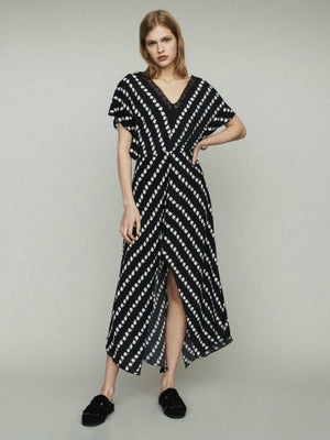 Summer Femme Women Daisy Printed Deep V Neck Cardigan Midi Dresses