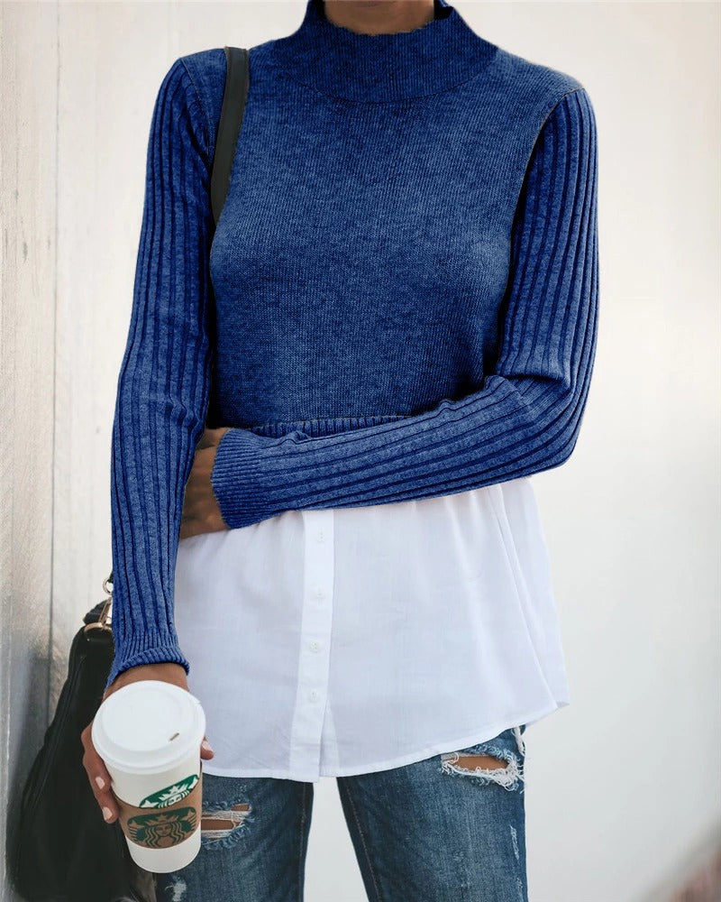 Splicing Long-sleeved Blouse Sweater-5color