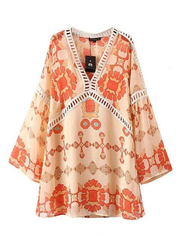 Boho Women Casual Loose Floral Printed Hollow Out Mini Dress