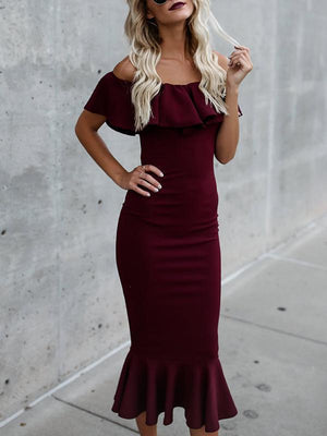 Off-the-shoulder Falbala Sleeves Mermaid Midi Dress
