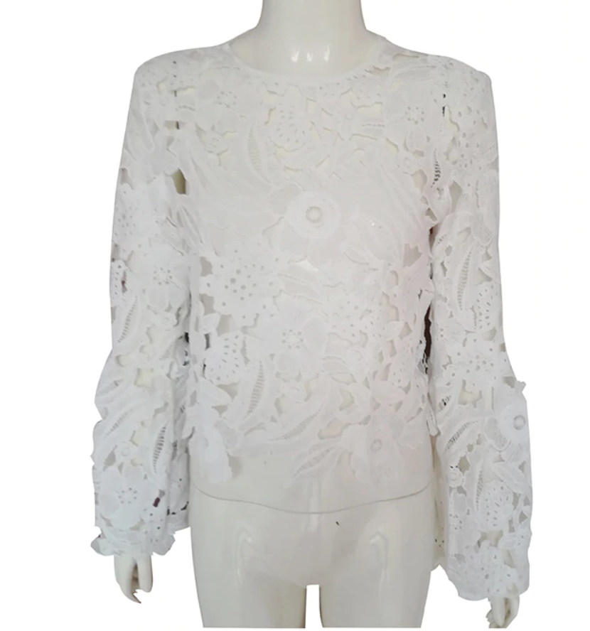 Lace hollow trumpet sleeve shirt top