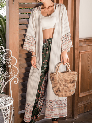 Cotton Beach holiday beach long shawl kimono