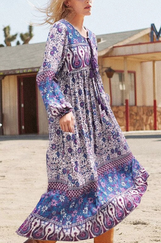 Bohemian Floral Purple Tassel Midi Dress