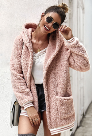 Pink Autumn Hooded fur coat cardigan