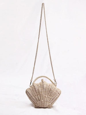 Shell-shaped Chain Packet Rattan Bag