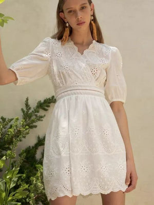 Summer Vintage Floral Embroidered Hollow Out Women Mini Dress