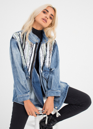 Sequined Striped Contrast Denim Jacket