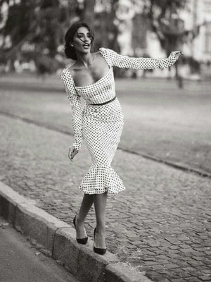 Elegant White Knotted Strap Polka-dot Mermaid Hem Summer Midi Dress