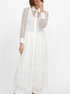 See Through Polka Dots White Long Sleeves Sheer Transparent Dress