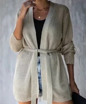 Tie knit cardigan sweater