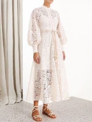 Fashion Stand Collar Long Lantern Sleeves Lace Hollow Out Maxi Dresses