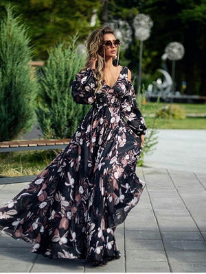 Women Flora Printed Long Sleeve Cold Shoulder Maxi Dress