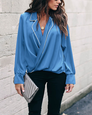 V-neck Lapel Long-sleeved Shirt-4color