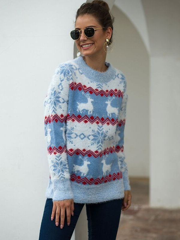 Snowflake Fawn O-Neck Long Sleeve Christmas Casual Pullovers Sweater