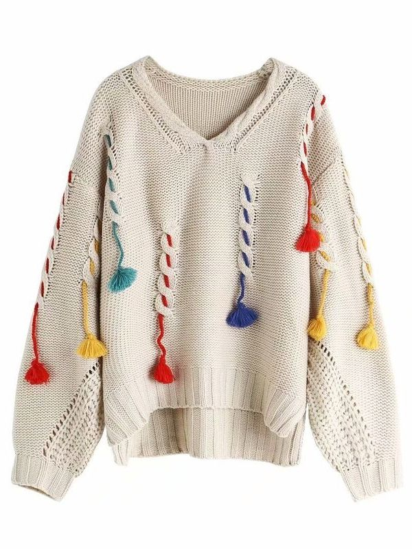 White color Fringed Loose Sweater