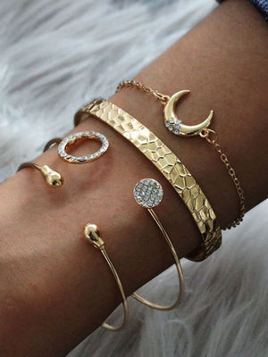 Water Drop Opening Bracelet Crescent Set