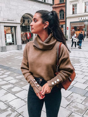 Knit Turtleneck Button Pullover Top
