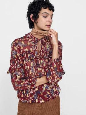 Flower Printed Flounce Irregular Blouse