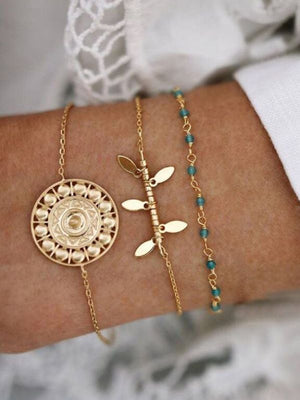 3 Pcs/set Bohemian Vintage Geometric Chain Gold Bracelet Set
