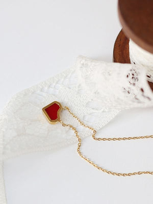 Red Heart Diamond Heart Geometry Cut Necklace