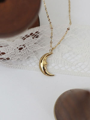 Sleeping Crescent Face Starlight Necklace