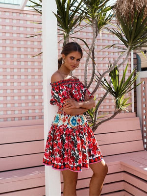 Off Shoulder Short Lantern Sleeve  Rose Flowers Printed Mini Dress