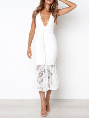 Lace Trumpet Deep V-Neck Sleeveless Sashes Midi Dress