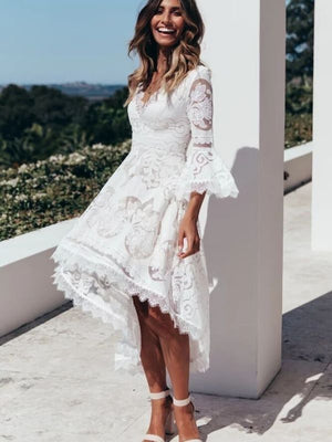 Sexy Elegant Slim Deep V Neck Lace Hollow Out White Dress