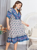 Print  Short Sleeve A-Line V Neck Casual Empire Dress XL-4XL