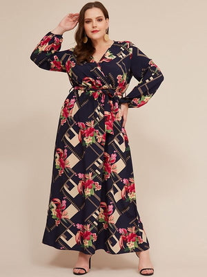 Floral Print V Neck Long Sleeve Casual Belted Maxi Dress XL-5XL
