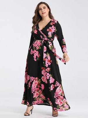 Long Sleeve V Neck Floral Print Belted High Waist Maxi Dress S-3XL