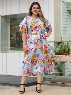 Flower Printed Short Flare Sleeve Floral Sashes A-Line Casual Dress XL-4XL