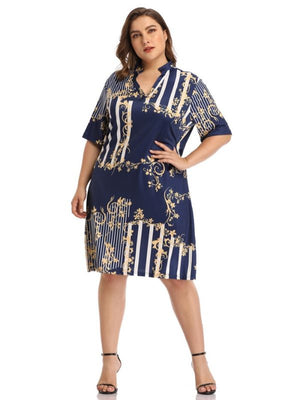Summer Loose Half Sleeve V-Neck Printed Dress L-4XL