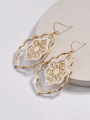 Gold Filigree Moroccan Cut Out Drop Hollow Statement Earrings