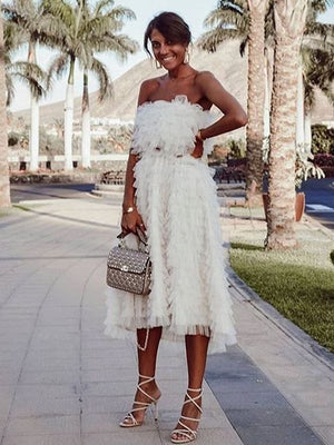 White Sweet Off Shoulder Midi Dress