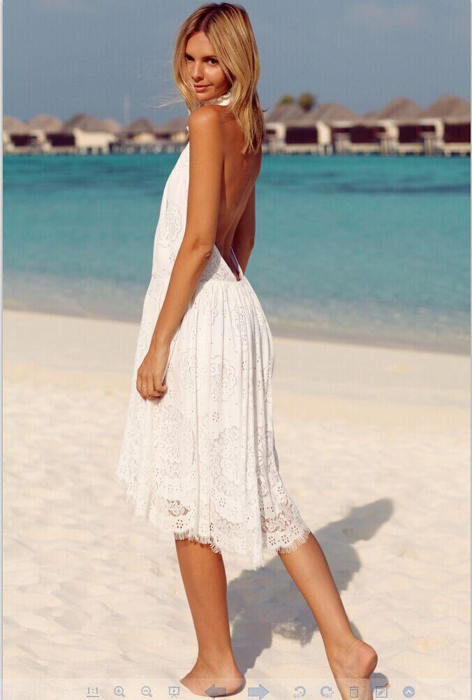 Backless White Lace  Explosions Mididress