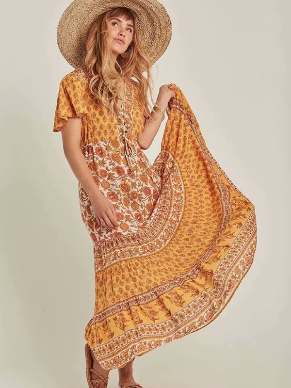 Beach Elegant Sexy Print Dresses Maxi Yellow Dress