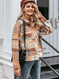 Single Breasted Plaid Long Sleeve Casual Oversize Coat