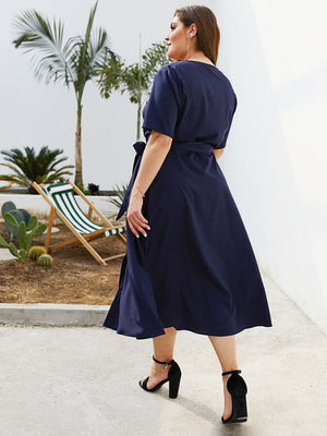 Summer Casual  V Neck With Sashes Button Navy Blue Midi Dress XL-4XL
