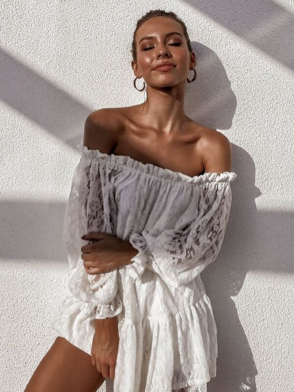 Sexy one-shoulder ruffled lace long-sleeved dress