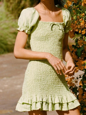 Army Green Casual Lace-up Summer Dress