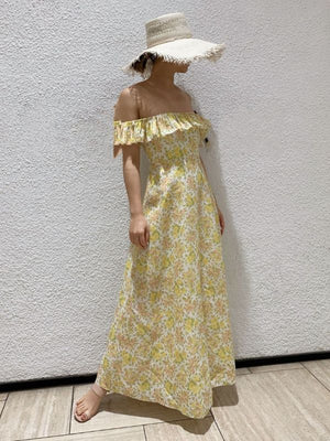 Summer Yellow Floral Printed Slash Neck Ruffles Fresh Elegant High Waist Dress