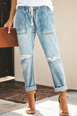 Broken Holes Patch Pocket Denim Jeans Boho Pants
