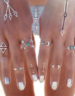 6pc Boho Moon Ring Set