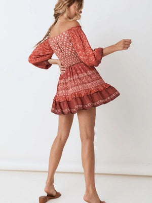 Off Shoulder Print Elastic Waist Ruffle Gypsy Red Lace Up Mini Dress