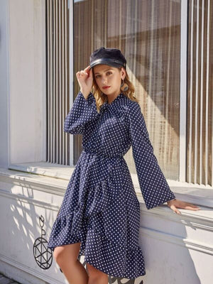 Polka Dot Long Sleeve Waist Irregular Dress